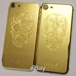 24K Gold Plated Skull Limited Edition Back Housing Cover Frame For iPhone 7 Plus