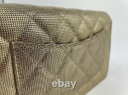 Auth CHANEL16C Gold Pixel Mesh Wallet on Chain WOC Crossbody Bag Limited Edition