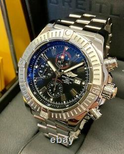 Breitling Super Avenger A13370 Black Dial 48mm With Papers SERVICED