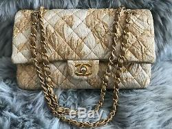 CHANEL Limited Edition Gold & Beige Brocade Medium Double Flap Bag