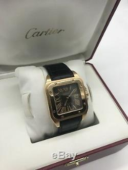 Cartier Santos 100 XL Rose Gold watch Leather Strap Limited Edition Of 300