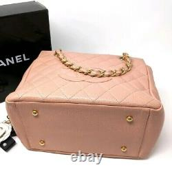 Chanel Pink Bag Timeless Petite Timeless Tote Pink Quilted Caviar Leather Rare