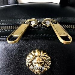 GUCCI Black Animal Stud Backpack Leather Gold Brass Metal Insect 406370 Lion Bag