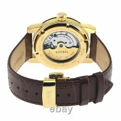 Gevril Men's 2584 Madison Swiss Automatic Silver Dial Gold IP Leather Watch