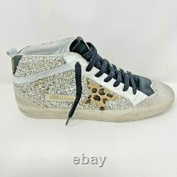 Golden Goose Mid Star Sneakers Gold Glitter Leopard-Print Star Limited Edition
