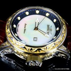 Invicta Excalibur Vintage Swiss Made White MOP 52mm Gold Tone Leather Watch New