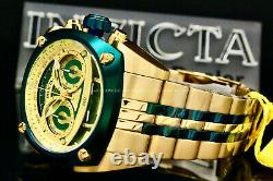 Invicta Men RESERVE 48MM Green/Gold Dial SWISS MOVEMENT18 K Gold Plated SS Watch