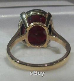 Large Heavy 4.15g 9ct Gold Garnet Solitaire English Vintage Ring Full Hmsize N
