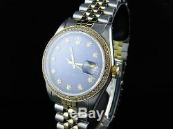 Mens Rolex Datejust 18K 2 Tone Gold 36MM Jubilee Blue Dial Diamond Watch 2 Ct