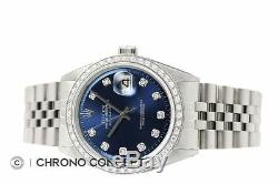 Mens Rolex Diamond Datejust 18K White Gold & Stainless Steel Blue Dial Watch