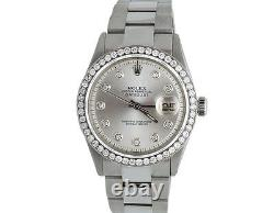 Mens Stainless Steel Rolex Datejust Oyster 36 MM Silver Dial Diamond Watch 2.5Ct