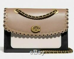NWT COACH PARKER Scallop Rivets MD Shoulder Crossbody Bag In STONE MULTI Leather