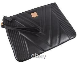 New MCM $575 Quilted Black Leather Medium Flat Purse Wristlet Pouch Purse