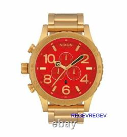 Nixon Watch 51-30 Chrono RED Gold A083-514 Men's New Dial A083514 NWT Genuine