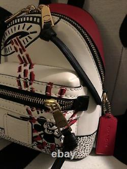 Nwt Coach X Mickey Mouse / Keith Haring Academy Mini Backpack 15
