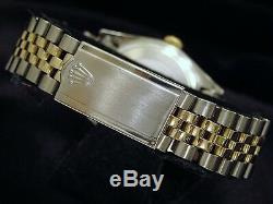 Rolex Datejust Mens 2Tone 14K Gold Stainless Steel Watch Black Dial Jubilee Band
