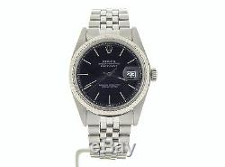 Rolex Datejust Mens Stainless Steel 18K White Gold Black Watch Jubilee Band 1601