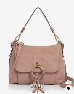 See by Chloé JOAN grained Leather & Suede Shoulder Bag MSRP$480 Dawn Rose