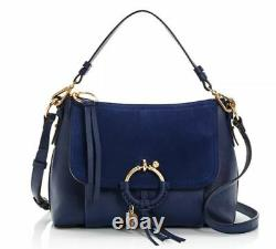 See by Chloe Joan Small Leather & Suede Shoulder Bag Classic Navy/Gold NWT
